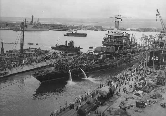 USS California entering drydock, 9 April 1942, worldwartwo.filminspector.com