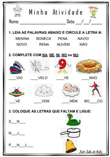 ATIVIDADE PARA EDUCAÇÃO INFANTIL LETRA N