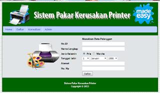 sistem pakar mendeteksi kerusakan pada printer