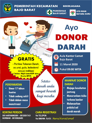 Pembuatan Brosur Donor Darah Puskesmas Bajo Barat