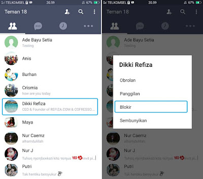 Blokir Teman di LINE Android