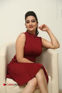Telugu Tollywood Anchor Manjusha Pos in Red Short Dress  0054.JPG