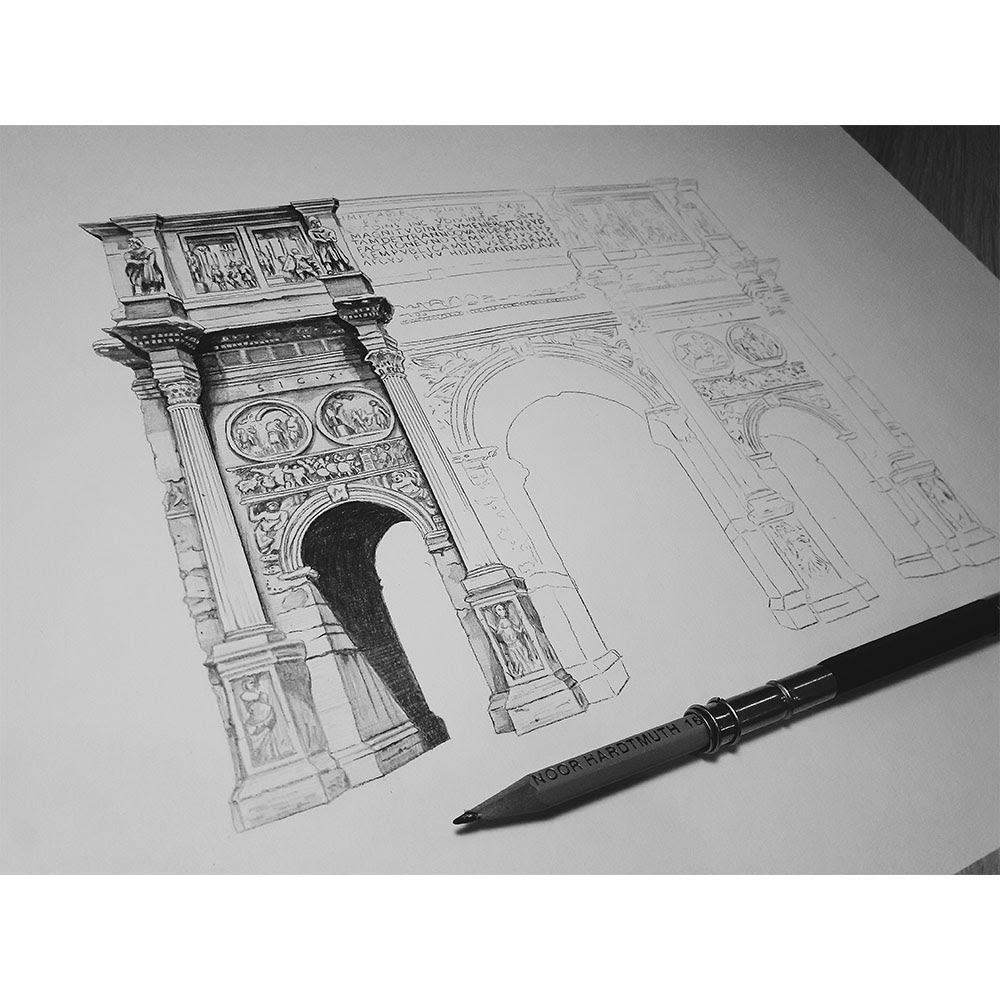 10-Arch-of-Constantine-Rome-Italy-WIP-Elizabeth-Mishanina-Architecture-Immaculate-Drawing-Technique-www-designstack-co