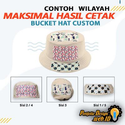 Contoh Wilayah Hasil Cetak Bucket Hat Custom Desain Produk Portfolio Design WEB ID