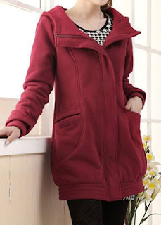 Hooded Collar Pocket Zipper Up Wine Red Coat