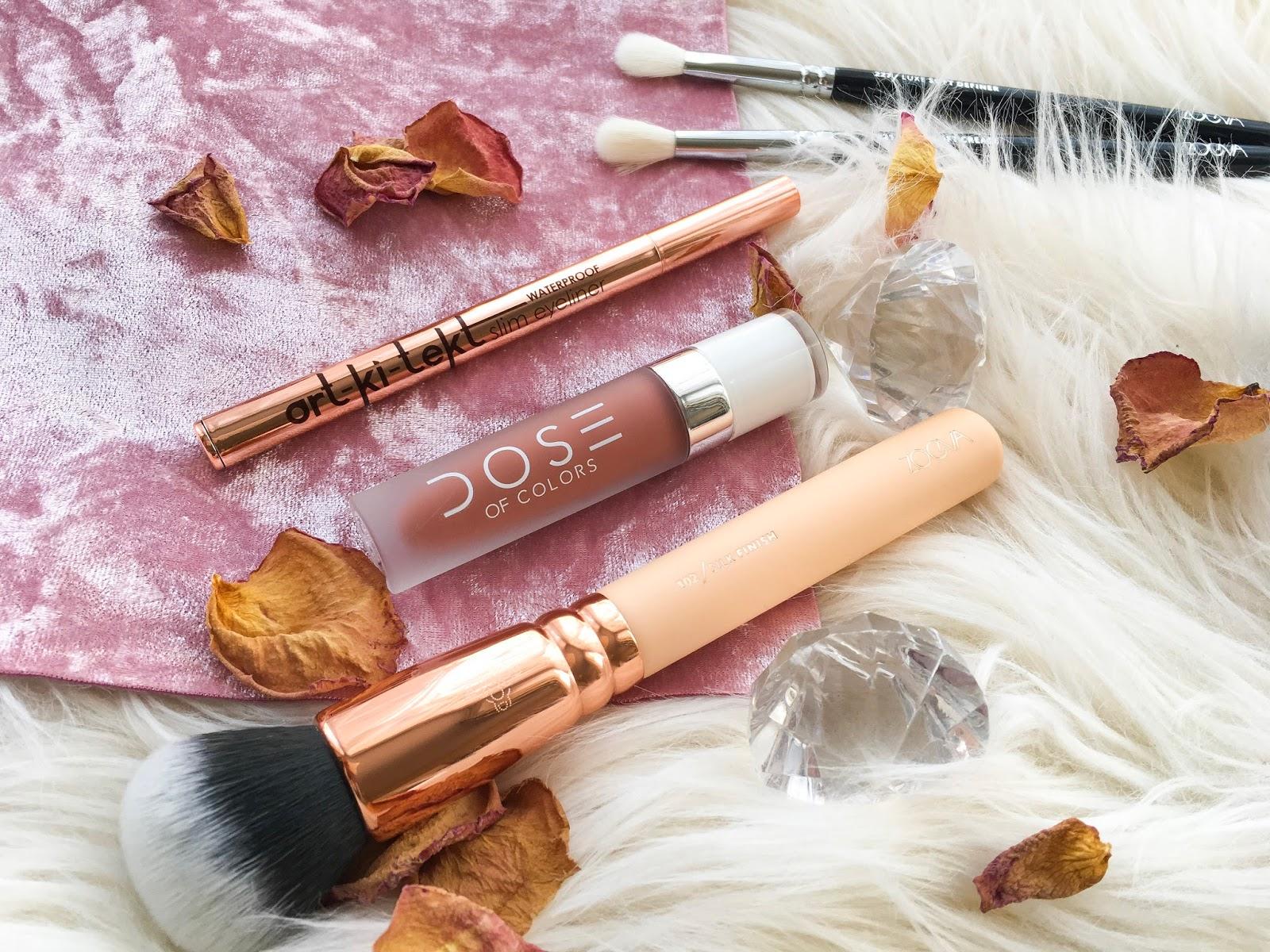 zoeva rose golden vol2 silk finish brush, la splash artkitekt eyeliner, dose of colors truffle, zoeva crease brush
