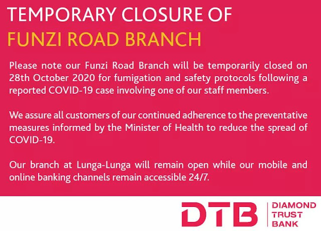 DTB Bank Funzi Road Branch Closure Notice