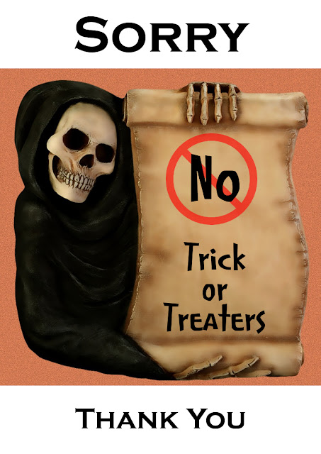 grim reaper skeleton skull skeletal poster no trick or treating