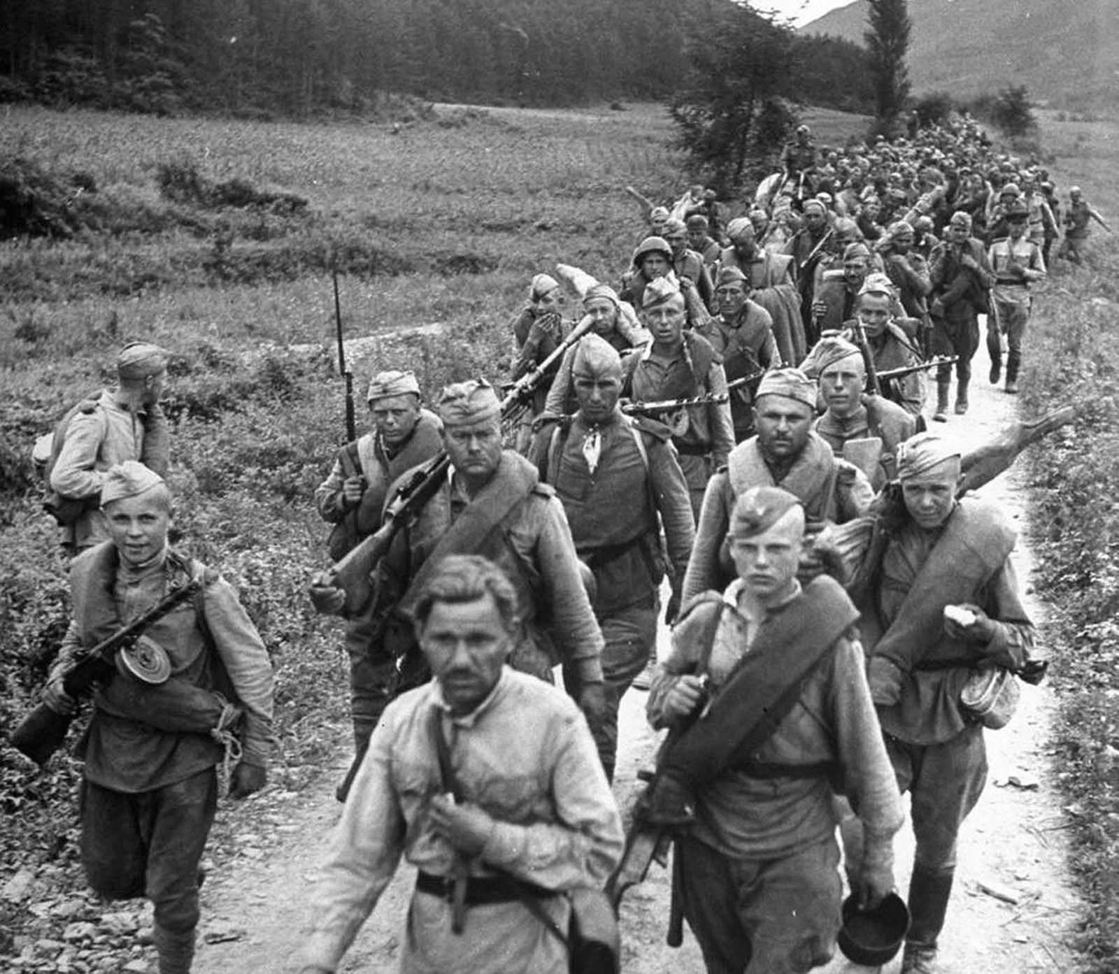 Soviet soldiers on the march in northern Korea in October of 1945. Japan had ruled the Korean peninsula for 35 years, until the end of World War II. At that time, Allied leaders decided to temporarily occupy the country until elections could be held and a government established. Soviet forces occupied the north, while U.S. forces occupied the south. The planned elections did not take place, as the Soviet Union established a communist state in North Korea, and the U.S. set up a pro-western state in South Korea - each state claiming to be sovereign over the entire peninsula. This standoff led to the Korean War in 1950, which ended in 1953 with the signing of an armistice -- but, to this day, the two countries are still technically at war with each other.