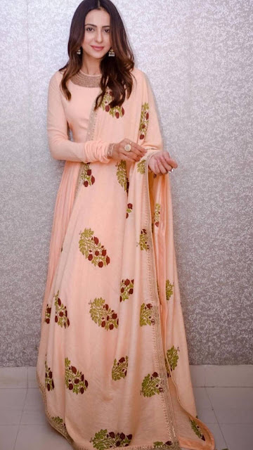 Rakul Preet Singh Beautiful HD Peach Kurta Photoshoot