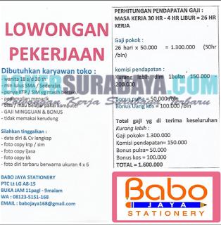 Lowongan Kerja Terbaru di Babo Jaya Stationery Surabaya Mei 2019