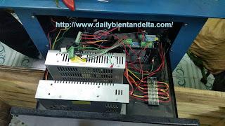 Thiết bị trong tủ máy cắt dây đai, nguồn 24V, PLC, relay