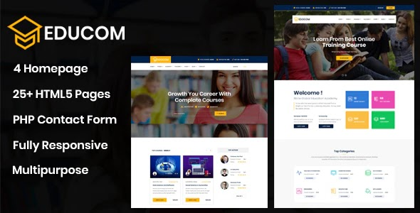 Educom - Education and LMS Template Free Download