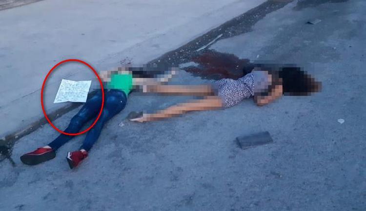 """""""Por andar charoliando con el CDN"""", Ejecutadas y con la sangre por la calle así CDN dejo a dos señoritas junto a amenaza en Nuevo Laredo"""