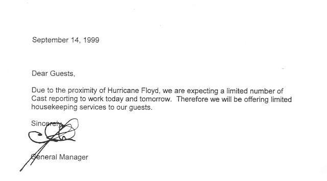 Hurricane Floyd Disney's All Star Sports Limited Housekeeping Announcements