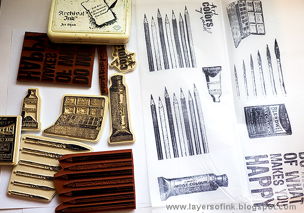 Layers of ink - Handmade Sketchbook Journal Tutorial by Anna-Karin with stamps by Darkroom Door and Prima Flowers.