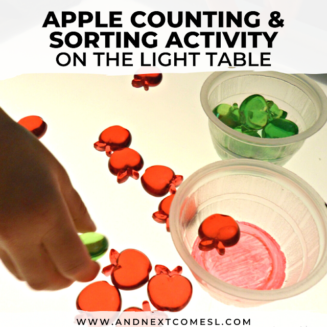 Apple themed counting and sorting activities for preschoolers on the light table