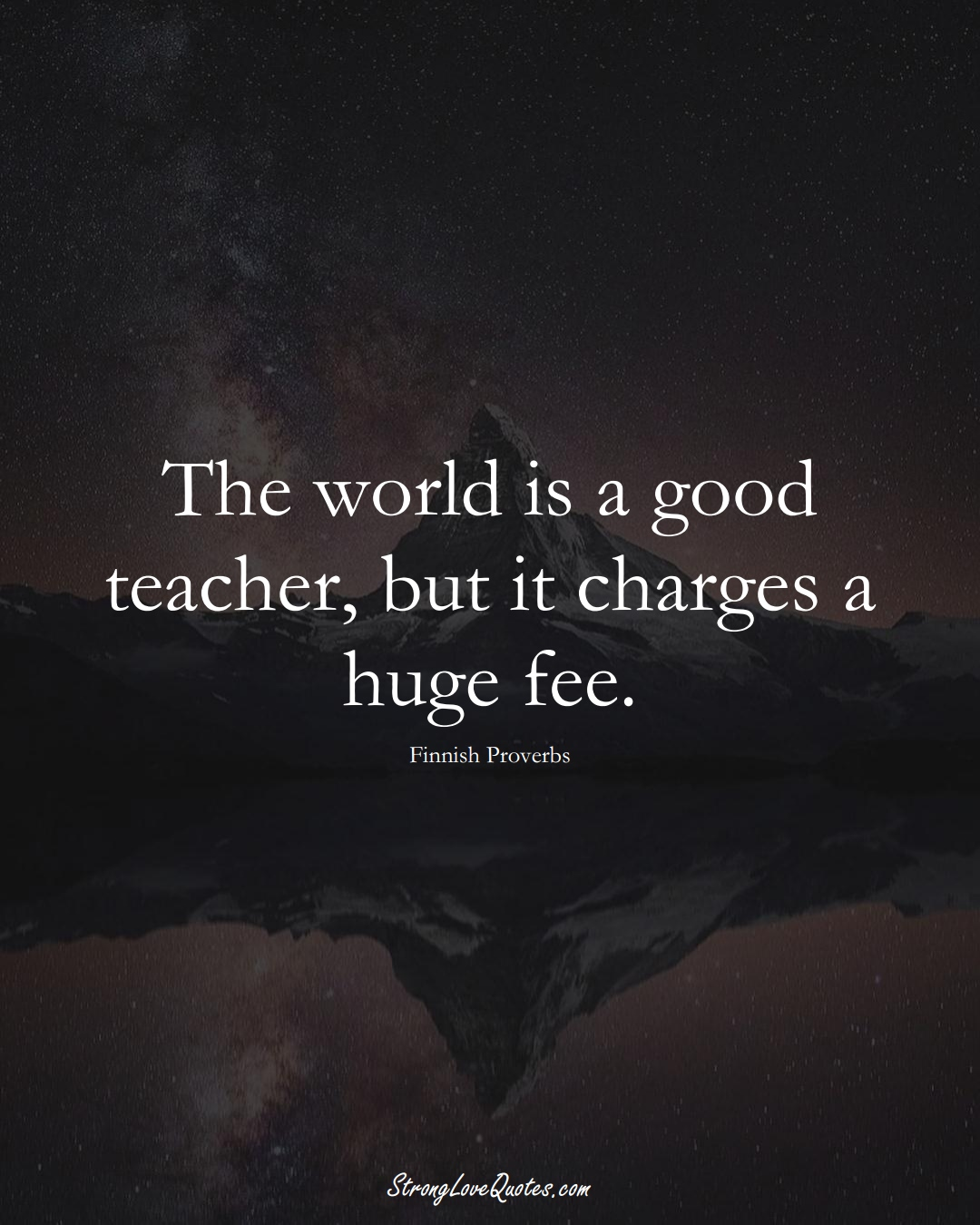The world is a good teacher, but it charges a huge fee. (Finnish Sayings);  #EuropeanSayings