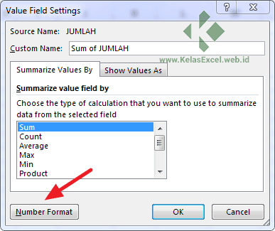 Value Field Settings Options