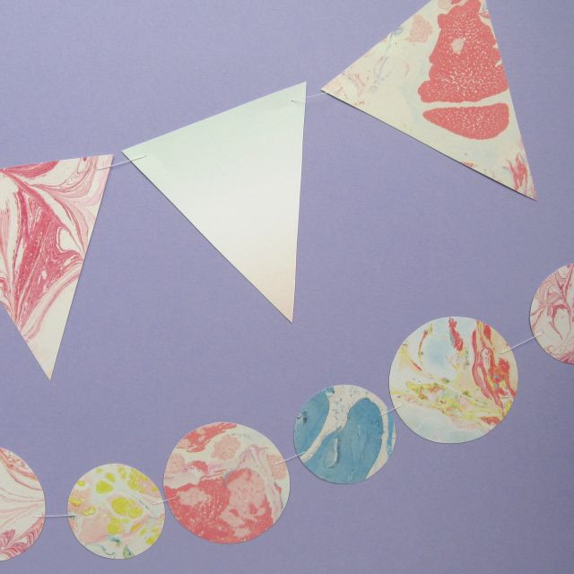 Making paper bunting and garlands