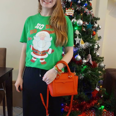 awayfromtheblue Instagram Christmas eve family time casual festive outfit glitter santa novelty tee maxi dress red bag