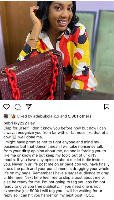 Never in your life post me on your page again- Bobrisky slams Seun Osigbesan after calling him a disgrace to manhood