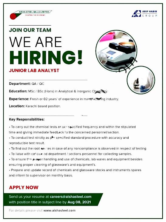Latest Jobs in Aisha Steel Mills Limited 2021