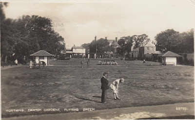 Worthing, Denton Gardens, Putting Green. The Photochrom Co Ltd. Posted to Birchington, Kent on 30 July 1928