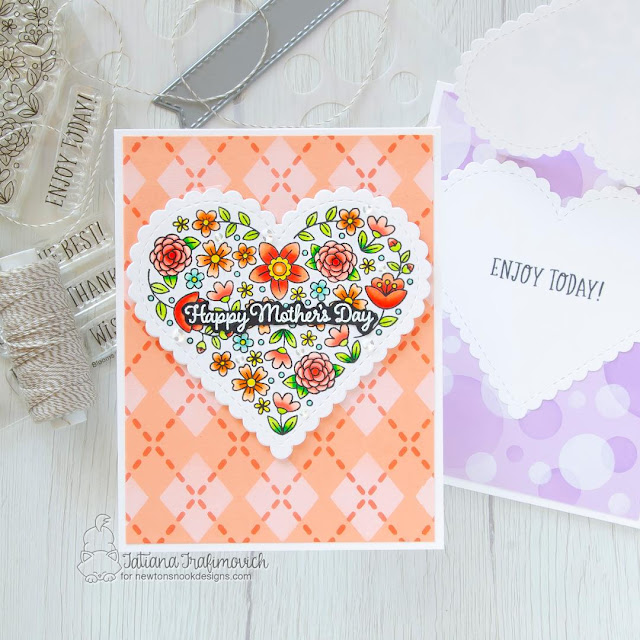 Mother's Day Card by Tatiana Trafimovich | Heartfelt Blooms Stamp Set, Mom & Dad Stamp Set, Heart Frames Die Set and Argyle Stencil Set by Newton's Nook Designs #newtonsnook