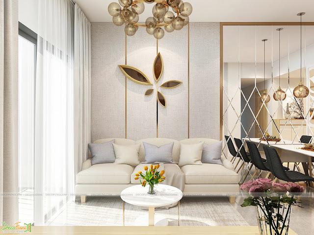 Thiết kế và thi công hoàn thiện nội thất căn hộ chung cư Dreamhome Riverside Quận 8 - Phòng khách