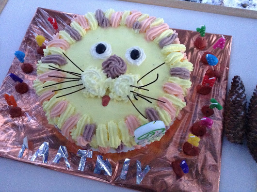 Lion Face Chocolate Cherry Butter Cake !!