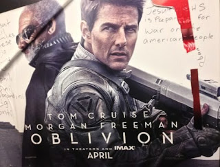 Tom Cruise and Morgan Freeman Oblivion poster 2013