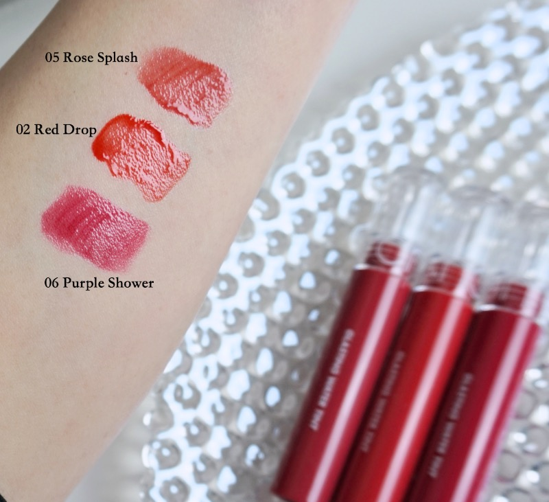 Romand Glasting Water Tint swatches
