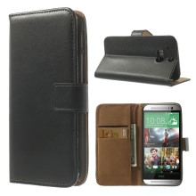 Genuine Split Leather Skin Wallet Case for HTC One M8 w/ Stand