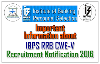 Important Information about IBPS RRB CWE-V Recruitment Notification 2016