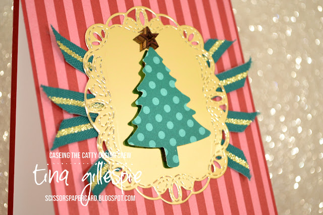 scissorspapercard, Stampin' Up!, CASEing The Catty, Pine Tree Punch, Stitched Labels Dies, Christmas, Regals DSP, Greatest Part Of Christmas