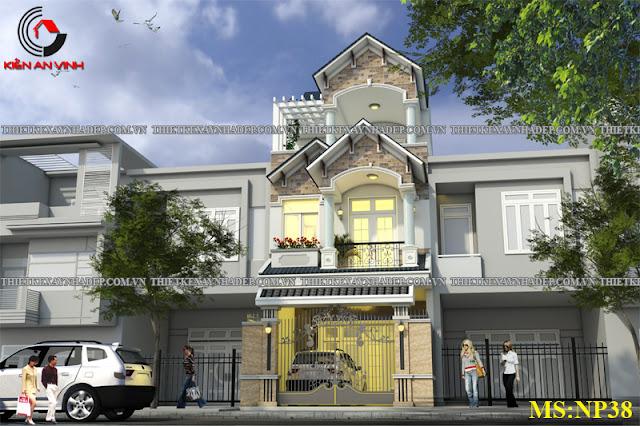 Mẫu thiết kế đẹp 2 tầng bán cổ điển mặt tiền 5m tại Long An Thiet-ke-nha-2-tang-dep-b