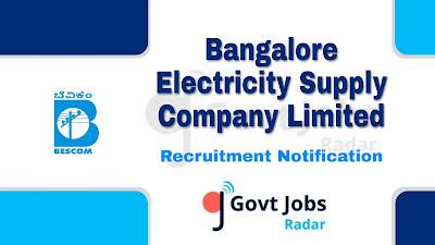 BESCOM recruitment notification 2019, govt jobs in Karnataka, govt jobs for diploma, govt jobs in engineer, karnataka govt jobs