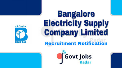 BESCOM Recruitment Notification 2019, BESCOM Recruitment 2019 Latest, Karnataka govt jobs, govt jobs in Karnataka, Latest BESCOM Recruitment update