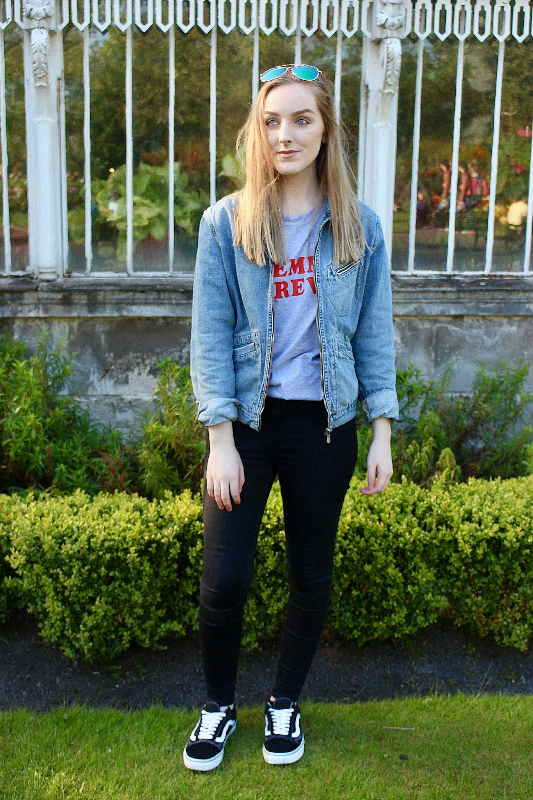 Why I stopped caring what other people think, how to stop caring about what other people think, how to stop caring what others think, denim jacket outfit, summer style, femme forever t shirt topshop, why I stopped giving a fuck about what other people think, outfit ideas, vans old skool outfit, vans old skool, denim jacket outfit