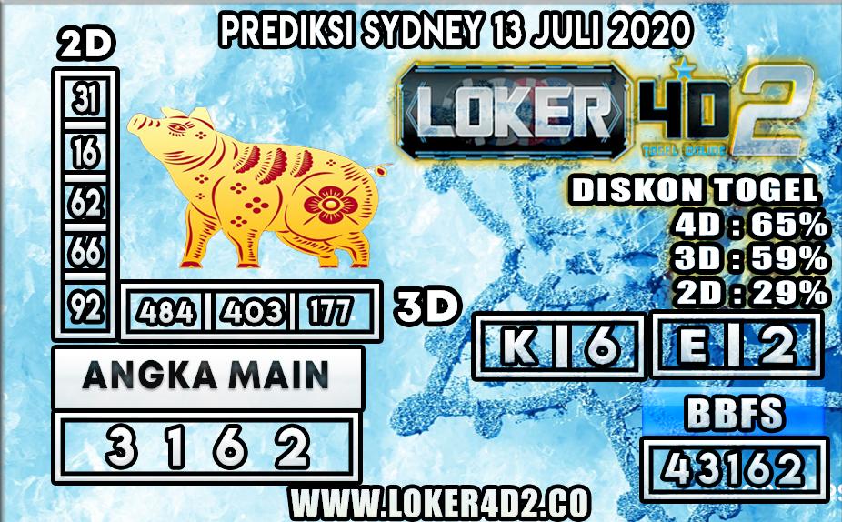 PREDIKSI TOGEL SYDNEY LOKER4D2 13 JULI 2020