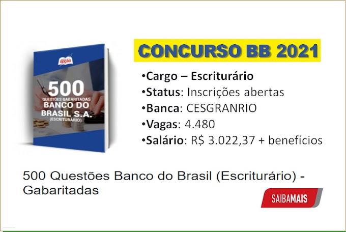 500 Questões (Gabaritadas) concurso Banco do Brasil para Escriturário - Saiba Mais