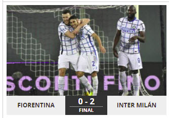 Inter milan win by hitting Fiorentina