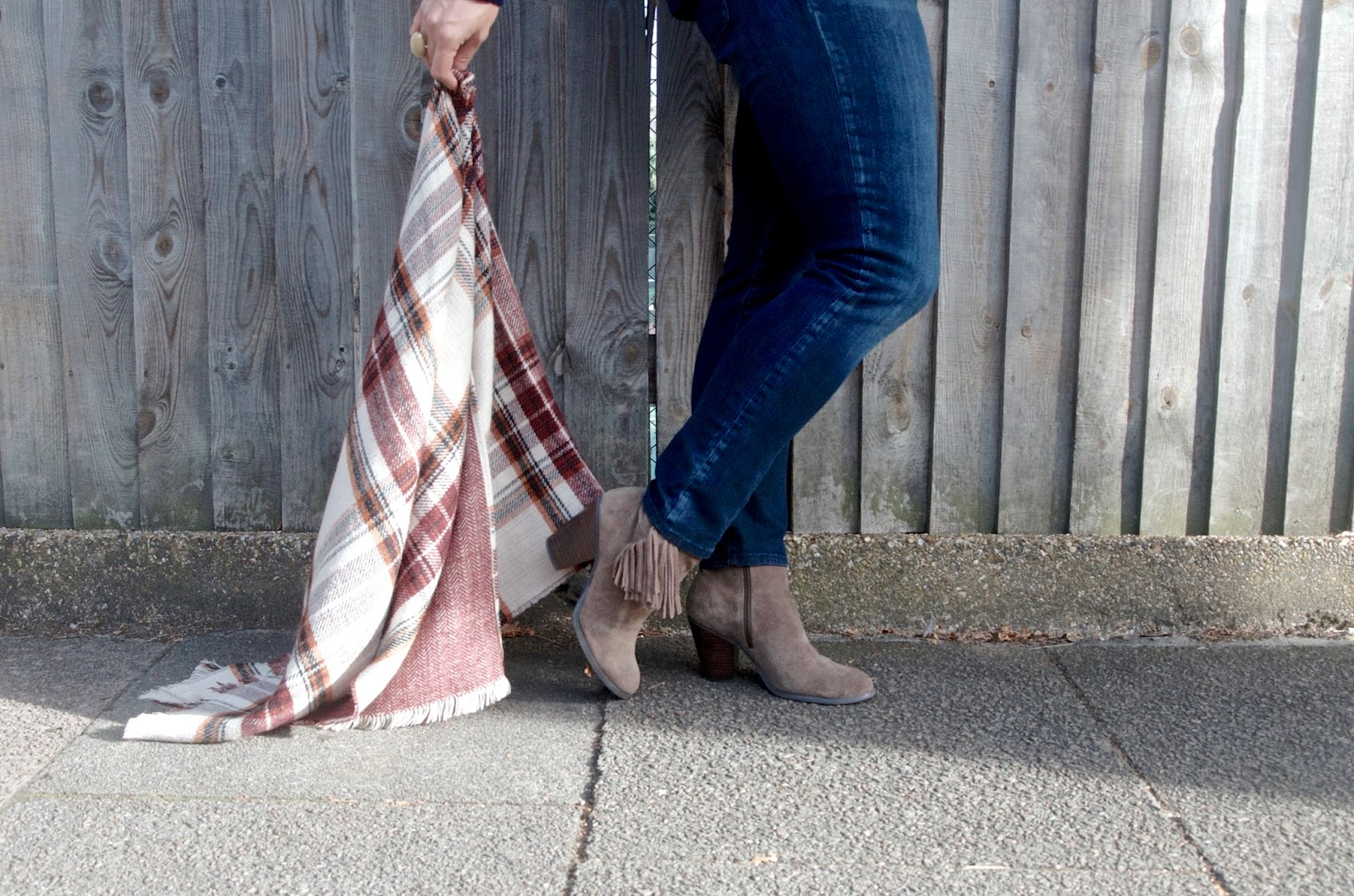 Fringe suede boots, plaid scarf and jeans