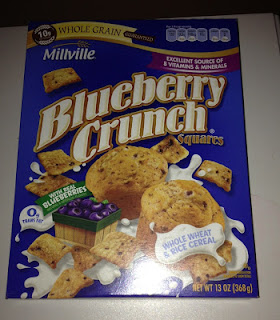 A box of Millville Blueberry Crunch Squares Cereal, from Aldi