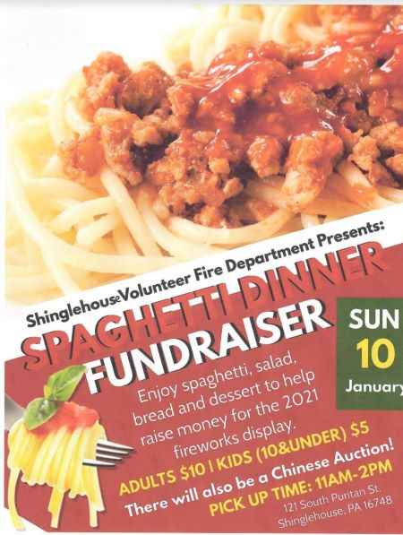 1-21 Spaghetti Dinner Fundraiser For Tickets please call Ben Broscious 814-904-0140