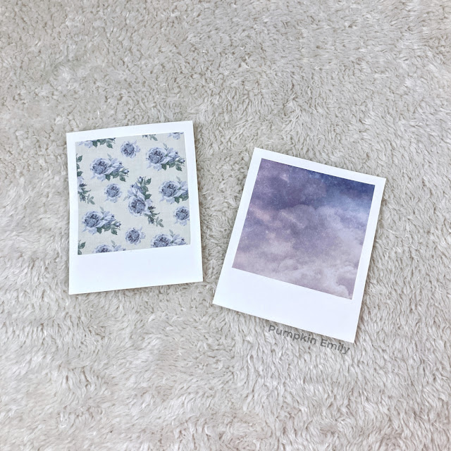 Polaroids made with scrapbook and cardstock paper.