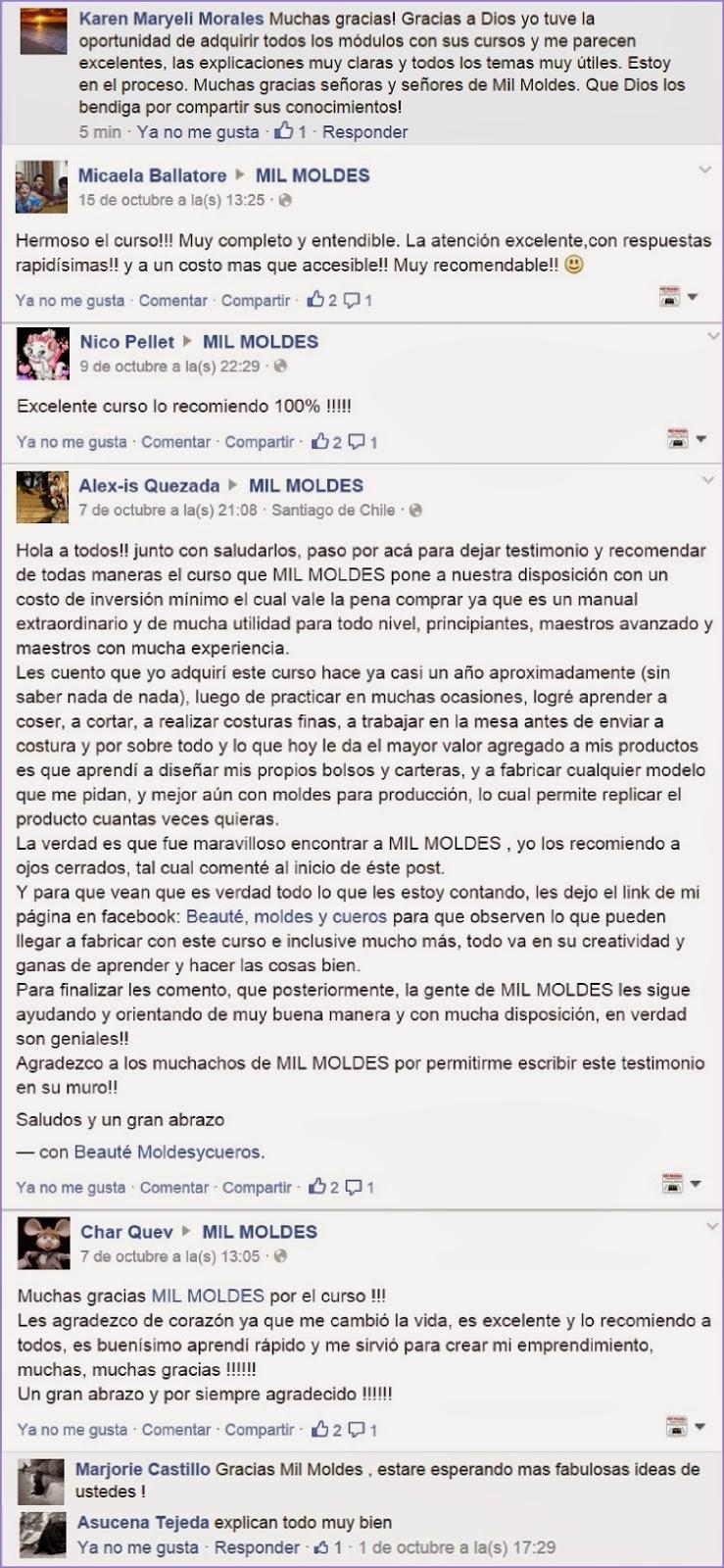 OPINIONES DEL CURSO COMPLETO DE CAPACITACIÓN EN DISEÑO, MOLDES Y CONFECCIÓN DE CARTERAS Y BOLSOS
