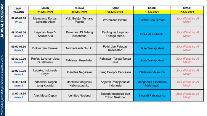 jadwal program bdr