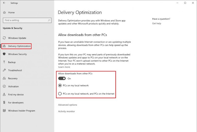 اعدادات Delivery Optimization